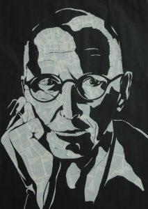 Een aquarel portret van Eugene de Jong, in plaats van een foto.